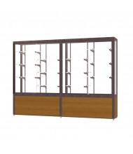 """Waddell Challenger 10408 Series Floor Display Case 96""""W x 66""""H x 16""""D (Shown in Light Oak/White Laminate/Dark Bronze)"""