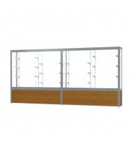 "Waddell Challenger 10412 Series Floor Display Case 144""W x 66""H x 16""D (Shown in Light Oak/White Laminate/Satin Natural)"