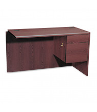 "HON 10700 Series 48"" L-Workstation Right Return with Pedestal, Mahogany"