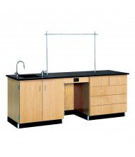 "Diversified Woodcrafts 96"" W Science Teacher Desk, Epoxy Sink"