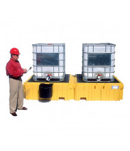 Ultratech Ultra-Twin 535 Gallon IBC Intermediate Bulk Container Spill Pallet Sumps with Drain (shown with left-side bucket shelf)