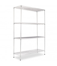 "Alera SW504818 48"" W x 18"" D x 72"" H 4-Shelf Wire Shelving Unit (Shown in Silver)"