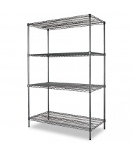 "Alera SW504824BA 48"" W x 24"" D x 72"" H 4-Shelf Wire Shelving Unit, Black Anthracite"