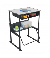 "Safco AlphaBetter 1204GR 28"" x 20"" Premium Height Adjustable Stand-Up Book Box Student Desk (example of use)"