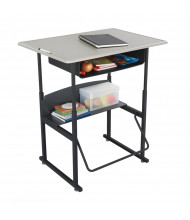 "Safco AlphaBetter 1207BE 36"" x 24"" Height Adjustable Stand-Up Book Box Student Desk (example of use)"