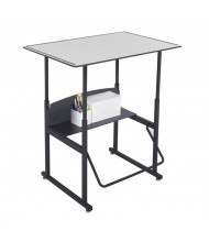 "Safco AlphaBetter 1208GR 36"" x 24"" Premium Height Adjustable Stand-Up Student Desk (example of use)"