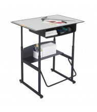 "Safco AlphaBetter 1209GR 36"" x 24"" Premium Height Adjustable Stand-Up Book Box Student Desk (example of use)"