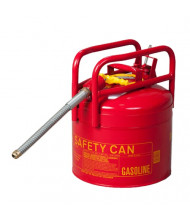 "Eagle 1215SX5 Type II DOT 5 Gallon 5/8"" Flexible Hose Galvanized Steel Safety Can, Red"