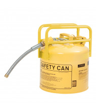 "Eagle 1215SX5Y Type II DOT 5 Gallon 5/8"" Flexible Hose Galvanized Steel Safety Can, Yellow"