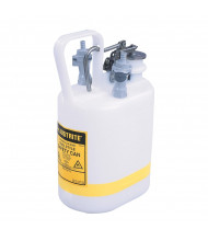 "Justrite 12160 Oval Quick-Disconnect 1 Gallon Poly Safety Can with Fittings for 3/8"" Tubing, White"