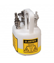 Justrite 12164 Oval Quick-Disconnect In-Flow 0.5 Gallon Poly Safety Can with Fittings, White