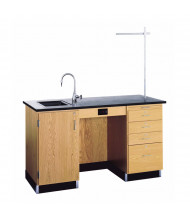 "Diversified Woodcrafts 60"" W Science Teacher Desk, Epoxy Sink"