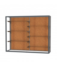 "Waddell Champion 12405 Series Wall Mountable Display Case 60""W x 48""H x 16""D (cork back/satin natural)"