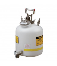 "Justrite 12770 Quick-Disconnect with Faucet 5 Gallon Poly Safety Can with Fittings for 1/4"" Tubing, White"