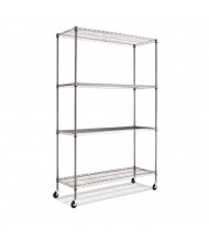 "Alera SW604818BA 48"" W x 18"" D x 72"" H 4-Shelf Wire Shelving Unit with Casters, Black Anthracite"