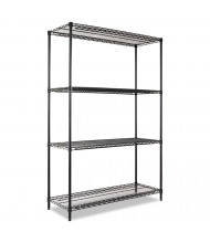 "Alera SW504818BL 48"" W x 18"" D x 72"" H 4-Shelf Wire Shelving Unit, Black"