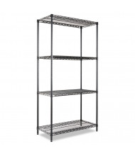 "Alera SW503618BL 36"" W x 18"" D x 72"" H 4-Shelf Wire Shelving Unit, Black"