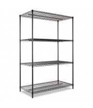 "Alera SW504824BL 48"" W x 24"" D x 72"" H 4-Shelf Wire Shelving Unit, Black"