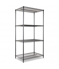 "Alera SW503624BL 36"" W x 24"" D x 72"" H 4-Shelf Wire Shelving Unit, Black"
