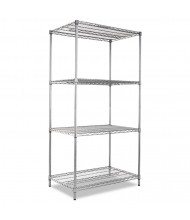"Alera SW503624BA 36"" W x 24"" D x 72"" H 4-Shelf Wire Shelving Unit, Black Anthracite"