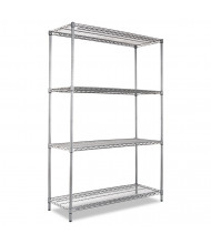 "Alera SW504818BA 48"" W x 18"" D x 72"" H 4-Shelf Wire Shelving Unit, Black Anthracite"
