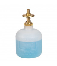 Justrite 14005 Nonmetallic 8 Ounces Brass Valves Plunger Dispensing Safety Can, Translucent (shown with liquid)