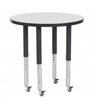 """ECR4Kids 30"""" Dia. Round Adjustable Mobile Activity Table (Shown in Grey)"""