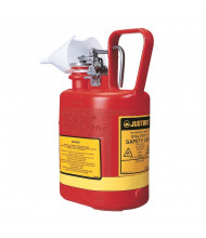 Justrite 14160 Self-Close 1 Gallon Polyethylene Oval Safety Can, Red (funnel not included)