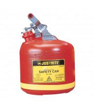 Justrite 14261 Type I Self-Close 2.5 Gallon Polyethylene Round Nonmetallic Safety Can