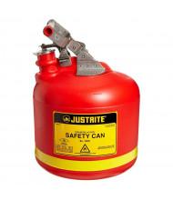 Justrite 14261 Type I 2.5 Gallon Polyethylene Round Nonmetallic Safety Can