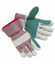 Memphis Men's Economy Leather Palm Gloves, White/Red, Large, 12/Pair