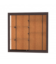 "Waddell Harbor 14404 Series Recessed Wall Display Case Aluminum Frame 48""W x 48""H x 16""D (Shown in Cork / Dark Bronze)"