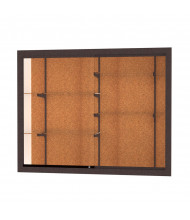"Waddell Harbor 14405 Series Recessed Wall Display Case 60""W x 48""H x 16""D (cork back/dark bronze)"