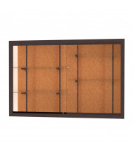 "Waddell Harbor 14406 Series Recessed Wall Display Case 72""W x 48""H x 16""D (cork back/dark bronze)"