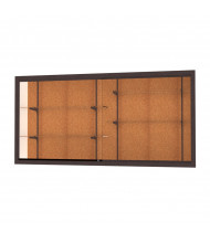 "Waddell Harbor 14408 Series Recessed Wall Display Case 96""W x 48""H x 16""D (cork back/dark bronze)"