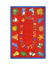Joy Carpets ABC Animals Classroom Rug, Red