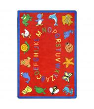Joy Carpets ABC Animals Classroom Rug, Red