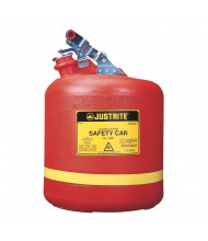 Justrite 14561 Type I Self-Close 5 Gallon Polyethylene Round Nonmetallic Safety Can, Red