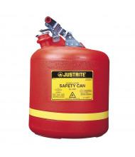 Justrite 14561 Type I 5 Gallon Polyethylene Round Nonmetallic Safety Can