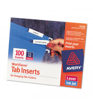 """Avery 1/5 Tab 2"""" Hanging File Inserts, White, 100/Pack"""