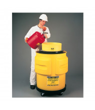 "Eagle 1612 1-Drum 31"" Dia x 33"" H Spill Containment Unit, Yellow (Shown with separate dolly, safety can, and overpack)"