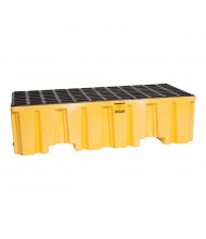 "Eagle 2-Drum 51"" W x 26.25"" L Spill Containment Pallet, 66 Gallons (with drain in yellow)"