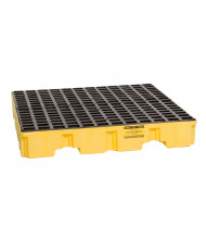 "Eagle 4-Drum Low Profile 51.5"" W x 51.5"" L Spill Containment Pallet, 66 Gallons (in yellow with no drain)"