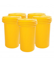 Eagle Lab Pack Screw Lid Poly Drum, 55 Gallons, Yellow, 5-Pack