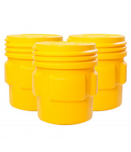 Eagle 1661 Overpack Screw Lid Poly Drum, 65 Gallons, Yellow, 3-Pack