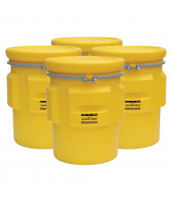 Eagle 1665 Overpack Salvage Metal Band Poly Drum with Bolt, 65 Gallons, Yellow, 4-Pack