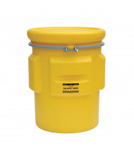 Eagle 1665 Overpack Salvage Metal Band Poly Drum with Bolt, 65 Gallons, Yellow