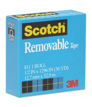 "Scotch 1/2"" x 1296"", 1"" Core Removable Tape, Clear"