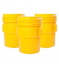 Eagle 1690 Overpack Screw Lid Poly Drum, 95 Gallons, Yellow, 3-Pack