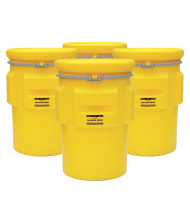 Eagle 1695 Salvage Metal Band Poly Drum with Bolt, 95 Gallons, Yellow, 4-Pack